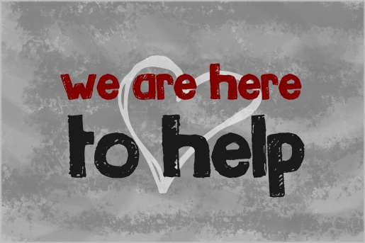We are here to help text written on grey background